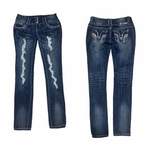 Almost Famous dark wash distressed skinny jeans 5